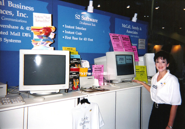 At MacWorld 1993 with my company S2 Software - Never a shortage of promo swag at my booth!